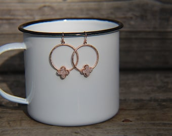 clover earrings, druzy hoop, hoop earrings, rose gold earrings, rose gold hoop, rose gold loop, modern clover earring clover hoop