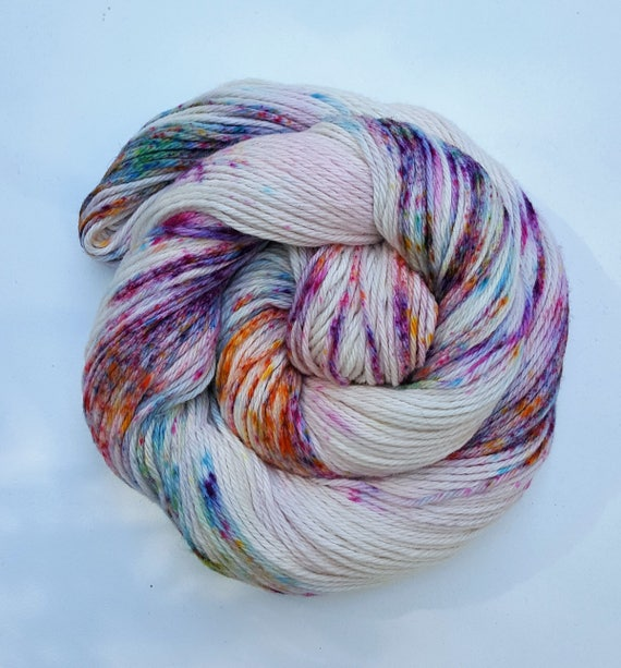 Confetti- 100 Cotton, Hand Dyed, Speckled Variegated Yarn