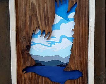 Salish Sea Eagle ocean forest reclaimed wood rustic cutout distressed art Vancouver Island ocean Sitka trees westcoastkitsch west coast