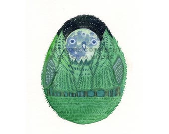 """Forest Night Owl - Original Owl Watercolor Painting - Owl Wall Art - 4""""x6"""""""