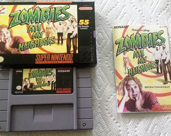 Zombies Ate My Neighbors - (Super Nintendo, SNES) Reproduction Cartridge with Reproduction Miniature Game Box and Glossy Manual