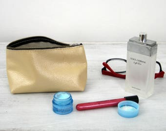 LEATHER POUCH, Metalic Leather Clutch Leather Toiletry Bag Leather Bag Leather Makeup Bag Leather Purse Leather Cosmetic Bag