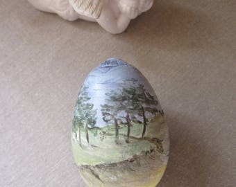 Easter egg, egg collection wooden seaside landscape painted by hand