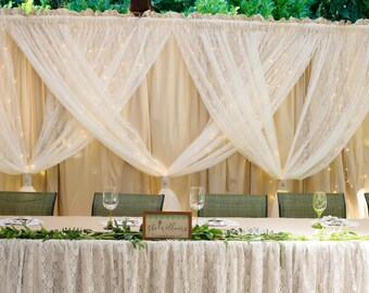 Wedding backdrop curtain, made from ivory lace and tea dyed muslin