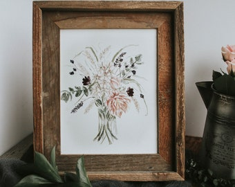Watercolor Flower Print, Spring Home Decor, Bouquet, Watercolor, Watercolor  Print, Flower