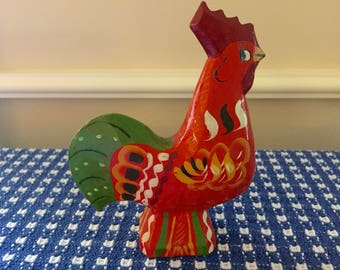 Handpainted Swedish Dala Rooster   GA Olsson  Good Luck   Prosperity    Kitchen Decor  Collectible   SWEDEN