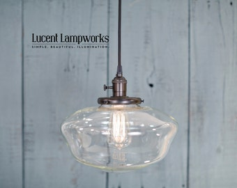 Pendant Light - Schoolhouse Style - Clear - 12 Inch