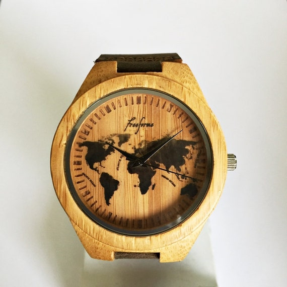 Wooden watch world map watch wood watches mens watch wooden watch world map watch wood watches mens watch personalized watch groomsmen gift travel gift unique leather watch sale gumiabroncs Gallery