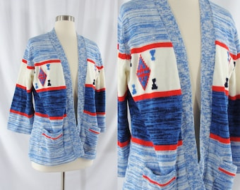Vintage 70s Spacedye Cardigan - 1970s Red White Blue Open Front Sweater - Seventies Bell Sleeve Sweater - Large 70s Acrylic Knit Sweater