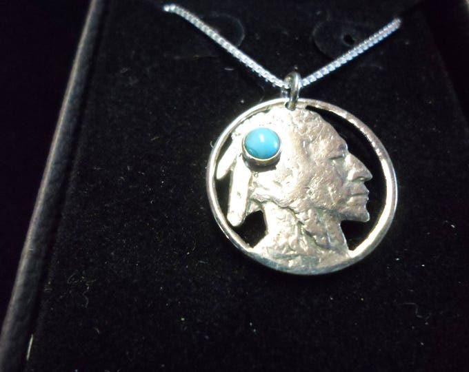 Indian head nickel w/4mm turquoise and sterling silver chain