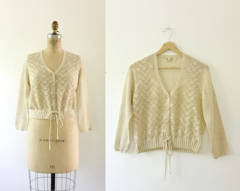 vintage crochet blouse / crochet cardigan / Four O' Clock Cardigan
