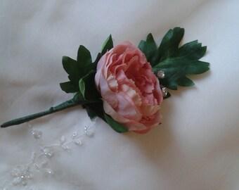 pink peony buttonhole