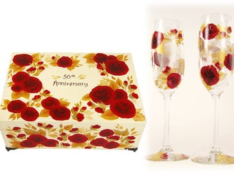 50th Anniversary Gift Set - Elegant Memory Box and Crystal Stemware - Hand Painted Red Roses, Gold Leaves - Personalized