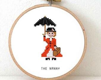 2 x Gift for Nanny. Modern cross stitch pattern to make nursery decor. Babysitter gift. Babysitters club. Mary Poppins pattern. Au Pair.