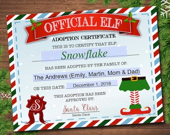 editable elf adoption certificate