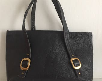 Pebbled Leather Black Bohemian Tote Bag