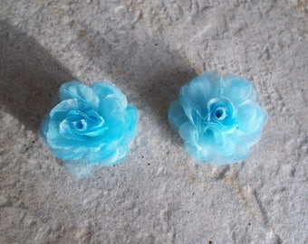 1 set of 2 blue sky color organza fabric flower beads