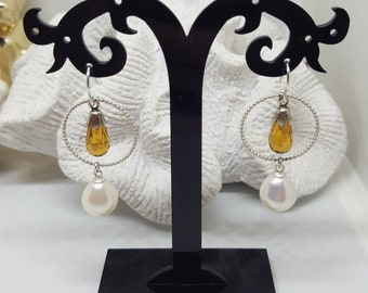 Great Citrine drops/Briolette earrings with real freshwater pearl in 925 silver