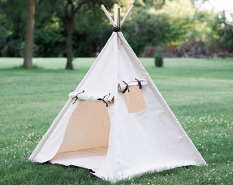 Kids Heavy Canvas Teepee Play Tent with Roll Up Door and Window, Ready to Ship, Fully Assembled, Unique Childrens Playhouse