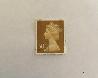 Elizabeth II, Ocher 50p stamps (Machin Head 271) - 50 stamps