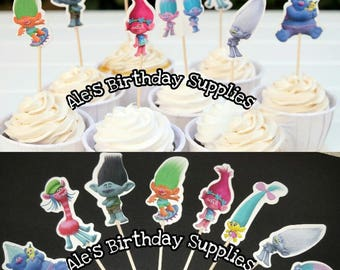 24 Pc Trolls Cupcake Toppers Picks Double Sided Party Supplies
