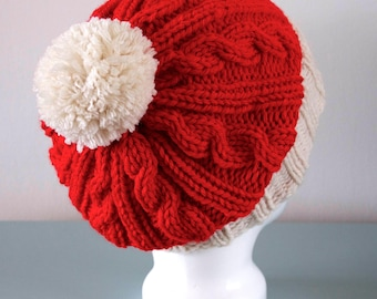Knitted Santa Hat - Red Cream Cable Slouchy Merino Wool Acrylic Christmas Pom Pom Unisex Gift for Him or Her by Emma Dickie Design