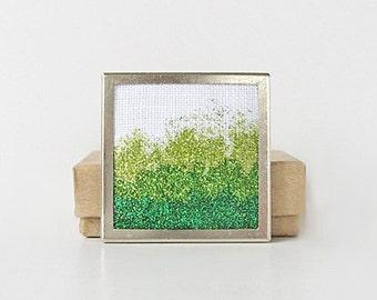 Green gradient brooch, emerald green pin, square glitter pin, sparkling brooch, holiday glitter jewelry