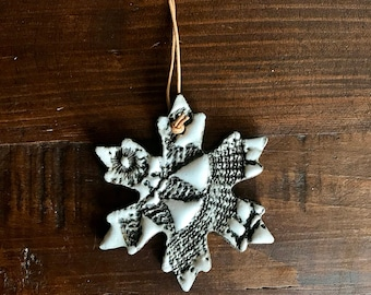 White glazed Lace Snowflake Ornament