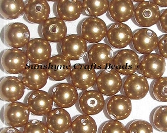 Swarovski Crystal 5810 Simulated Pearls  - BRIGHT GOLD Round Beads - Sizes 4mm, 6mm & 8mm available