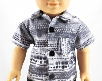 """18"""" American Doll Girl Boy Clothes Grey Button Up Tee Shirt with Black Denim Shorts"""