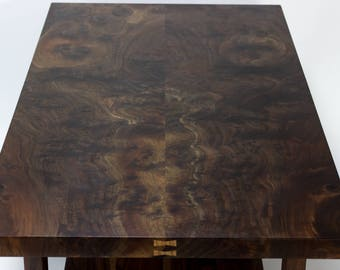 Bookmatched Walnut Coffee Table With Shelf, Slab Table, Bookmatch Table,  Slab Coffee Table