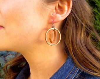 Geometric Earrings, Wood Dangle Earrings, Wood Circle Earrings, Chandelier Earrings