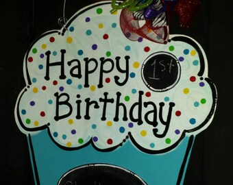 Happy birthday chalkboard door hanger for boys or girls