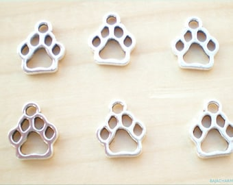 10 Dog Paw Charms, Antique Silver Tone, Pet Charms, Animal Charms, Jewelry Findings