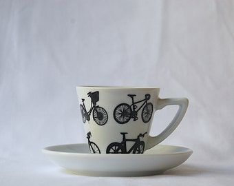 Iconic Bike Designs Espresso Cup and Saucer