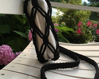 Macrame Water Bottle Holder in Black