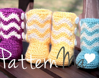 Crochet Baby Boots PDF pattern Chevron #13