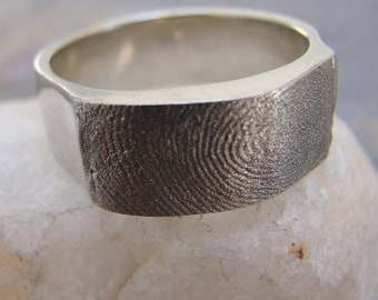 Fingerprint Ring Wedding Band Jewelry in White Gold 14kt  Personalized