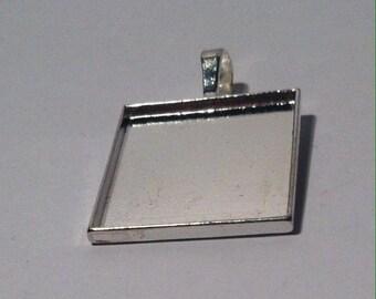 cabochon 25mm square Silver Pendant