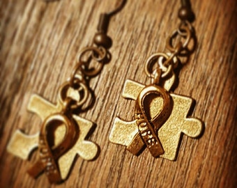 Autism Awareness bronze & goldtone earrings