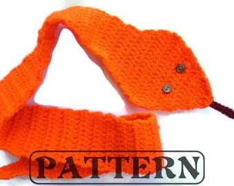 Snake Pattern, Crochet Pattern, Snake Scarf, Animal Scarf, Toddler Scarf, Cool Scarf, Rattle Snake, Snake Crochet Pattern, Kids Scarves
