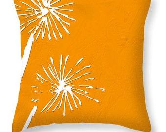 DECORATIVE THROW PILLOW Dandelion design No2 square or lumbar scatter cushion, Pantone 144 accent pillow