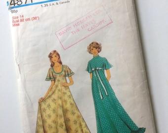 1970s Style Maxi Dress Sewing Pattern No. 4871 Modern Size 12