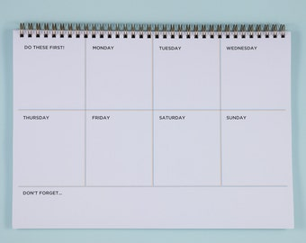 Weekly Desk Planner Notebook, Productivity Planner, Weekly Desk Pad, A4 Weekly Wirebound Notebook, Weekly Spiral Deskpad, Weekly Schedule