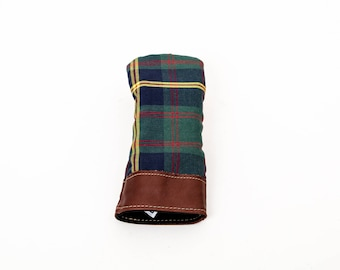 Steurer & Jacoby Leather and US Marines Wool Tartan Golf Club Driver Head Cover