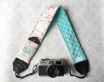 Embroidered DSLR Camera Strap, Padded, Lens Cap Pocket, Nikon, Canon, DSLR Photography, Photographer Gift - Multi Chevron & Aqua
