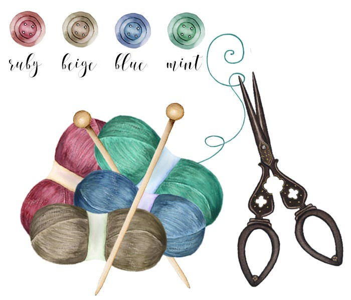 Knitting And Sewing Clipart Watercolor Clip Art Vintage Scissor