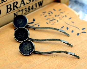 50pcs Antique Bronze Bobby Pin with 14mm Cameo Base