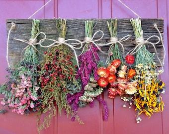 Dried Flower Wreath,Wreath,Primitive Decor,Drying Rack,Dried Flower Arrangement,Wall Decor,Dried Flowers,Floral Arrangement,Country,Rustic