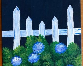 Hydrangea bushes - acrylic painting